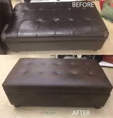 Storage Bench before and after reupholstery